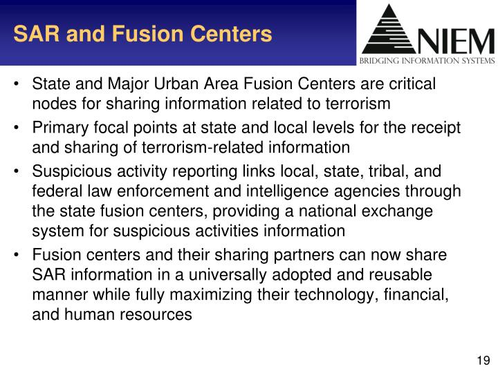SAR and Fusion Centers