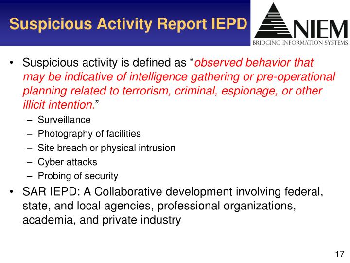 Suspicious Activity Report IEPD