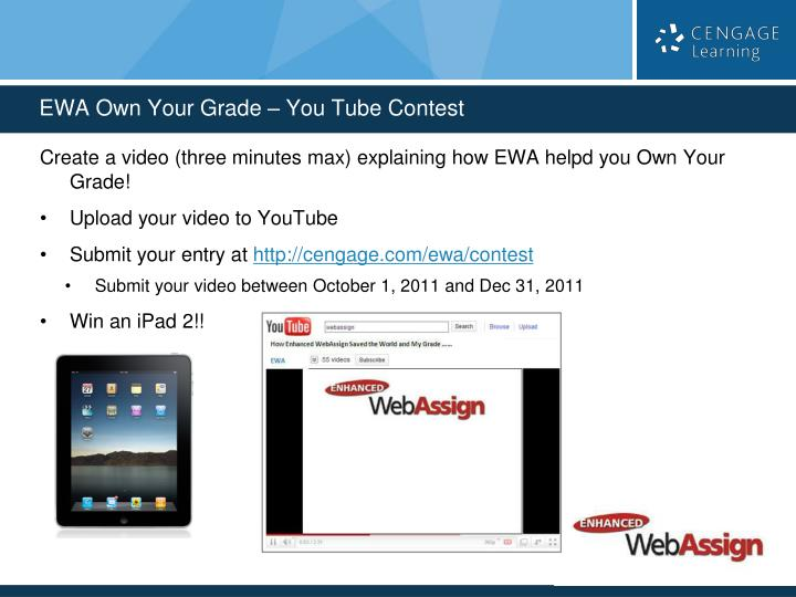 Create a video (three minutes max) explaining how EWA helpd you Own Your Grade!