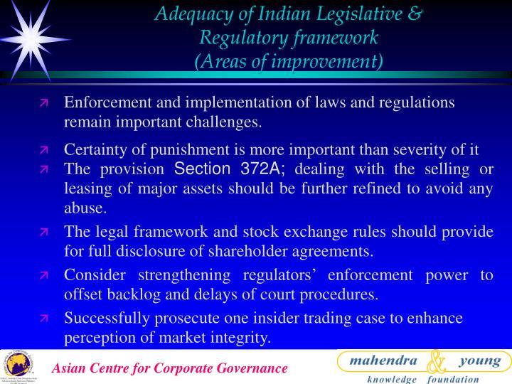Adequacy of Indian Legislative &
