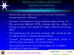 adequacy of indian legislative regulatory framework areas of improvement