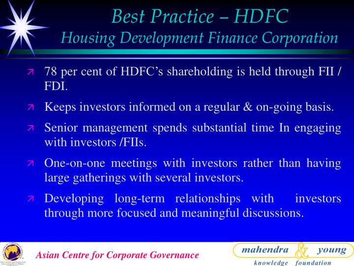 Best Practice – HDFC