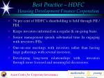 best practice hdfc housing development finance corporation