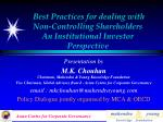 best practices for dealing with non controlling shareholders an institutional investor perspective