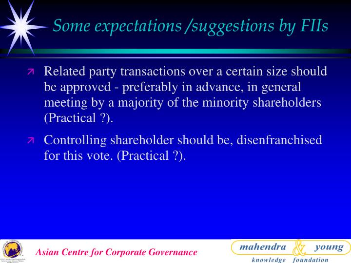 Some expectations /suggestions by FIIs