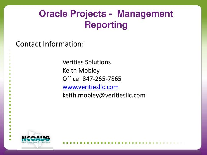 Oracle Projects -  Management Reporting
