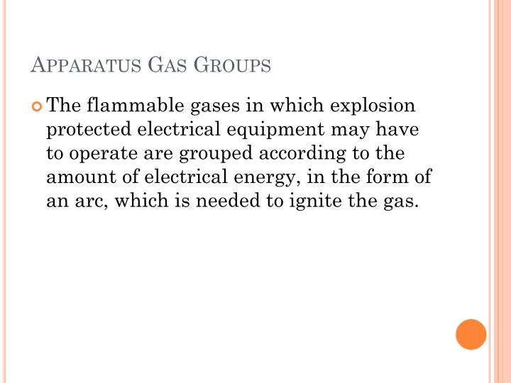 Apparatus gas groups