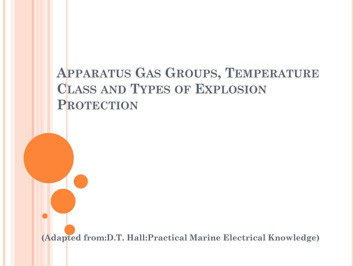 Apparatus gas groups temperature class and types of explosion protection