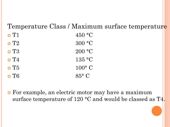 Temperature Class / Maximum surface temperature