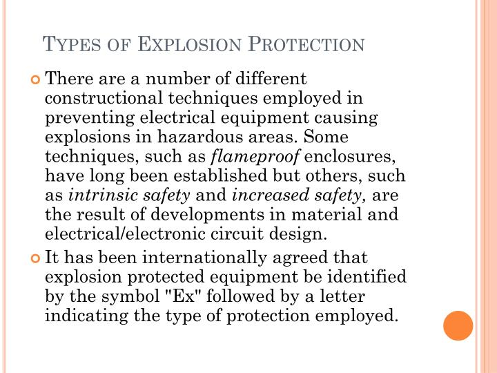 Types of Explosion Protection