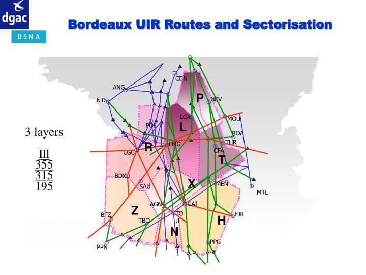 Bordeaux UIR Routes and Sectorisation