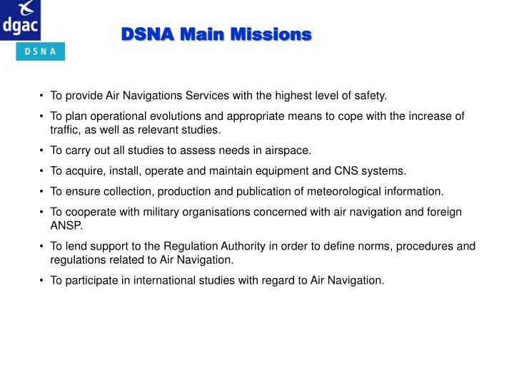 DSNA Main Missions