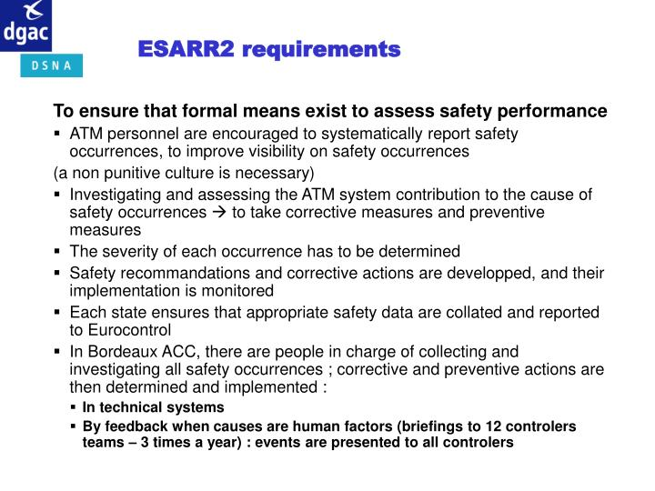 ESARR2 requirements