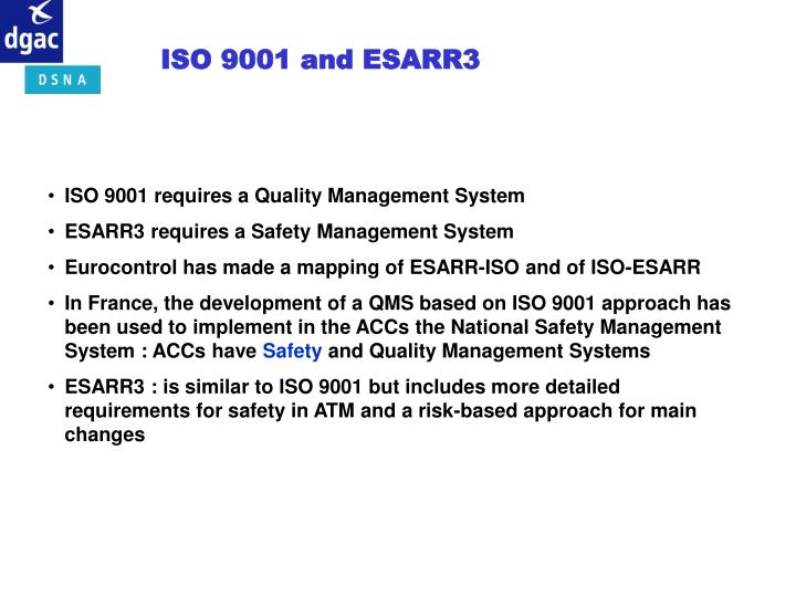 ISO 9001 and ESARR3