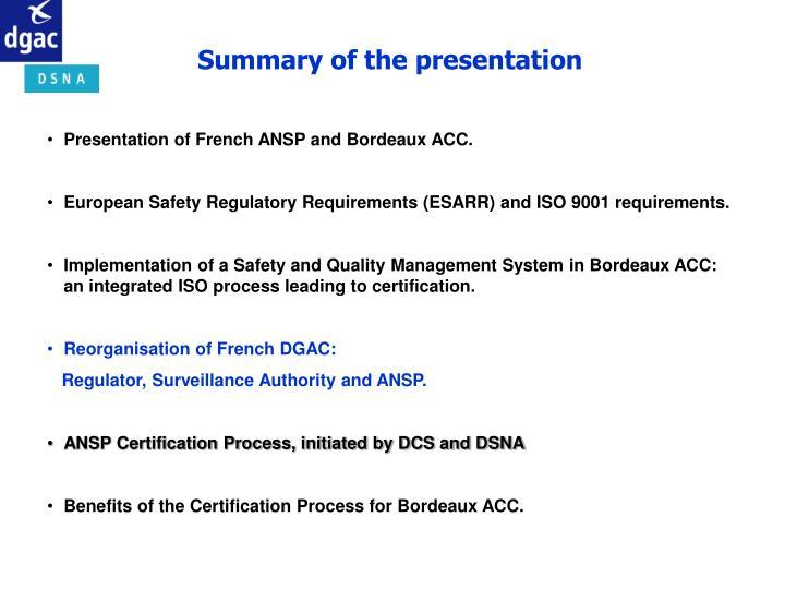 Summary of the presentation