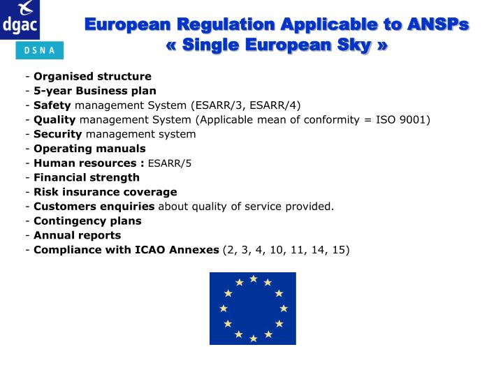 European Regulation Applicable to ANSPs