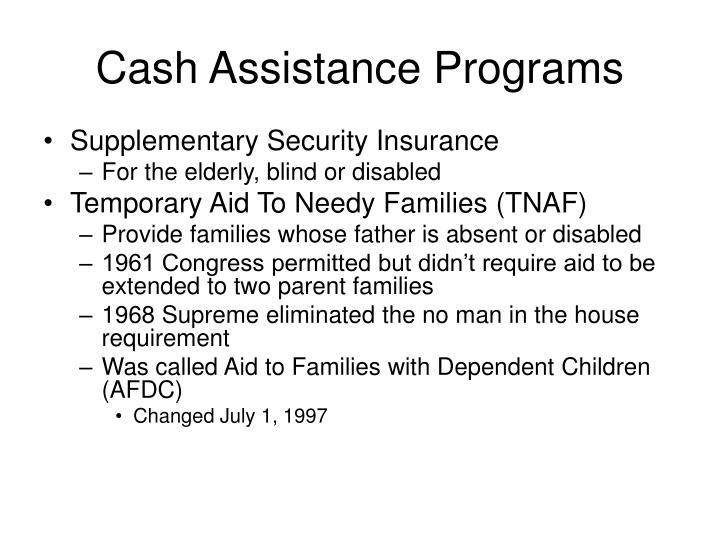Cash Assistance Programs
