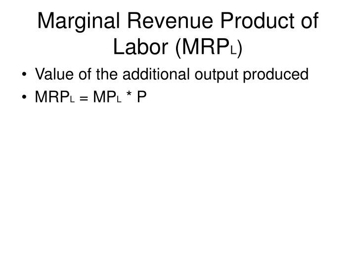 Marginal Revenue Product of Labor (MRP