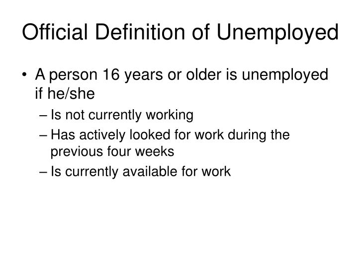 Official Definition of Unemployed