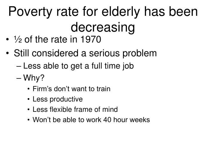 Poverty rate for elderly has been decreasing