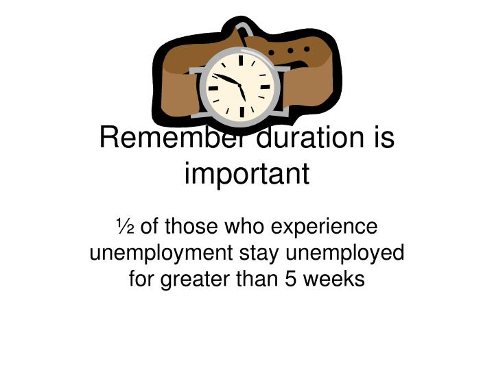 Remember duration is important