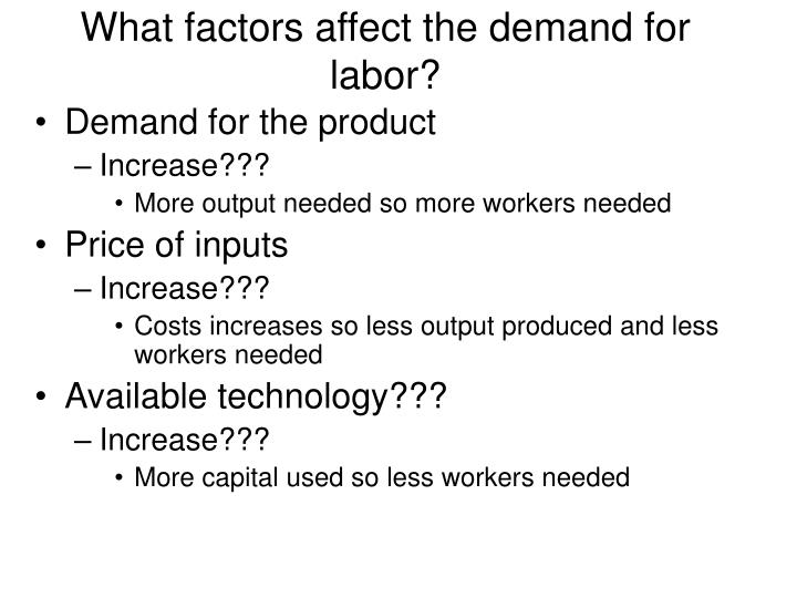 What factors affect the demand for labor?