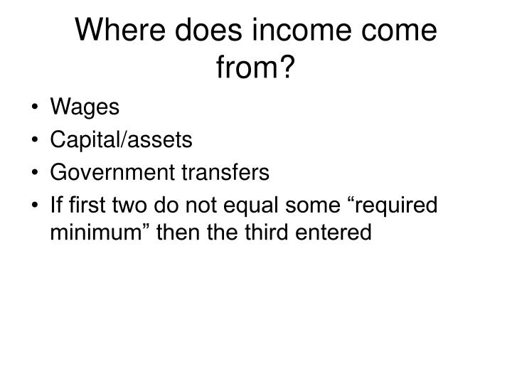 Where does income come from?