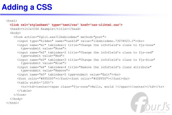 Adding a CSS