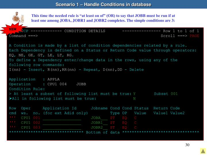 Scenario 1 – Handle Conditions in database