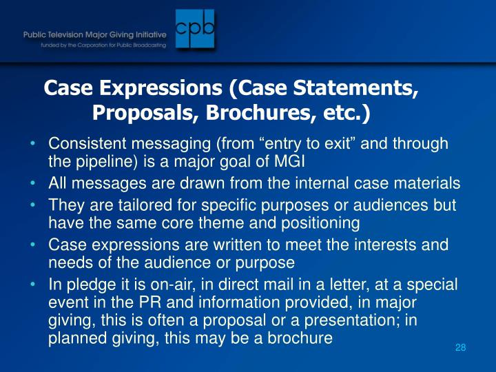 Case Expressions (Case Statements, Proposals, Brochures, etc.)
