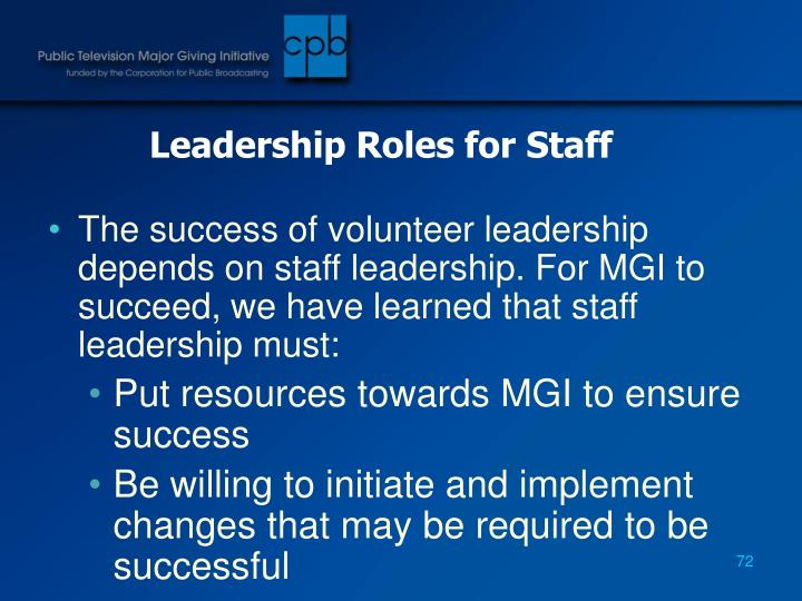 Leadership Roles for Staff