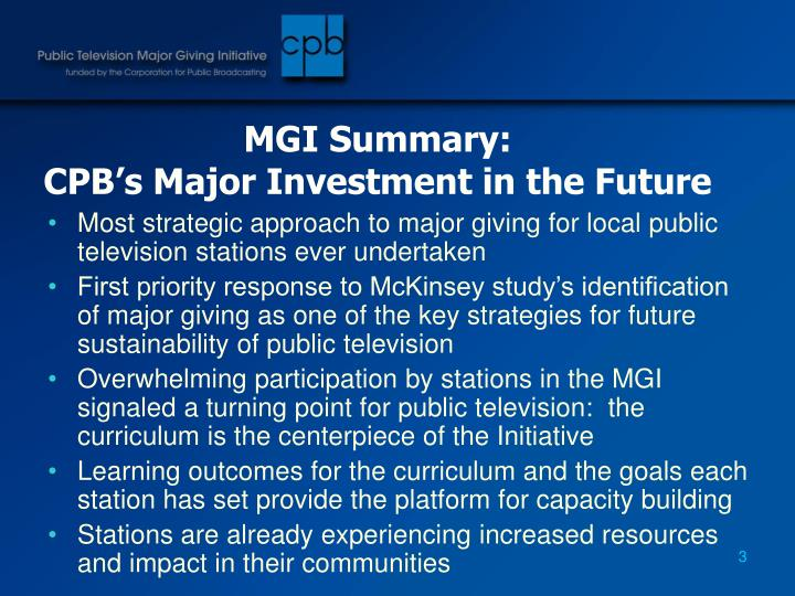 Mgi summary cpb s major investment in the future