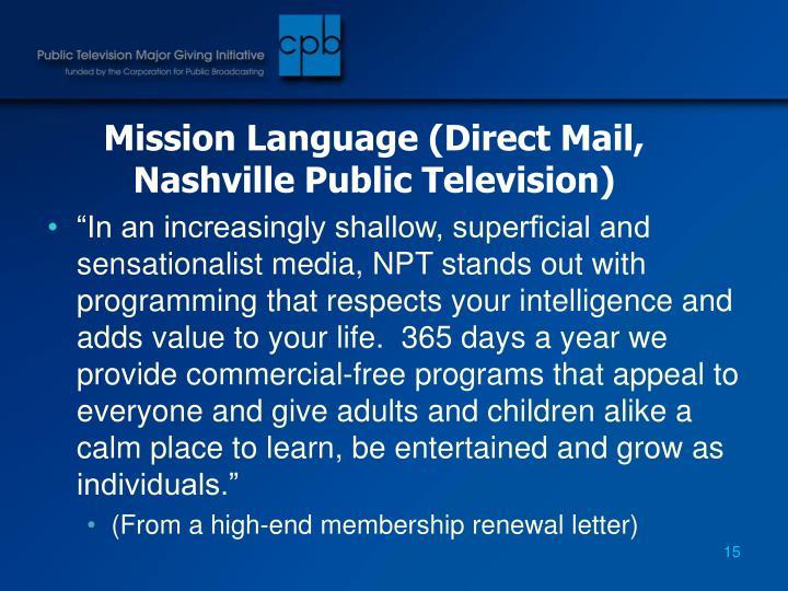 Mission Language (Direct Mail, Nashville Public Television)