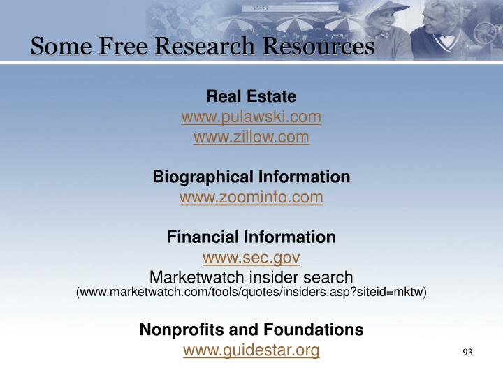 Some Free Research Resources