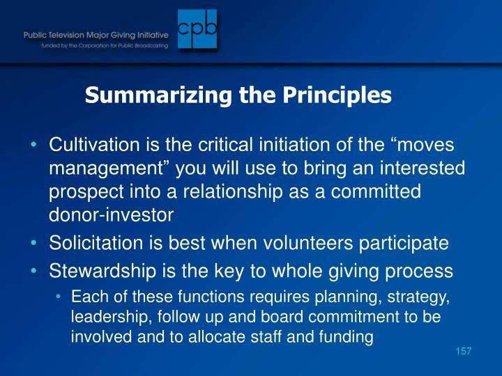 Summarizing the Principles