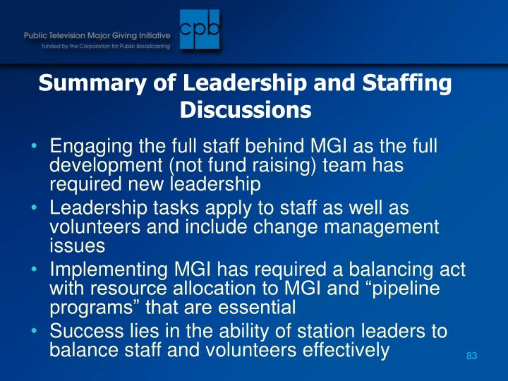 Summary of Leadership and Staffing Discussions