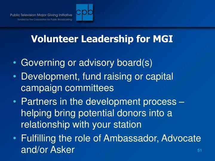 Volunteer Leadership for MGI