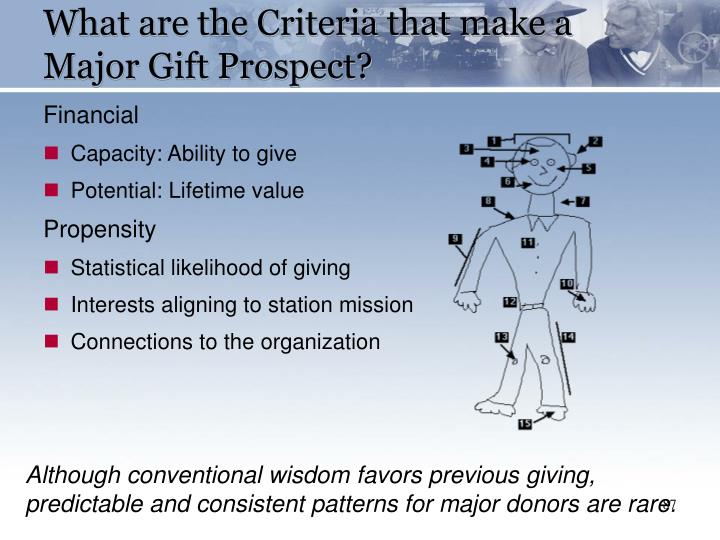 What are the Criteria that make a Major Gift Prospect?