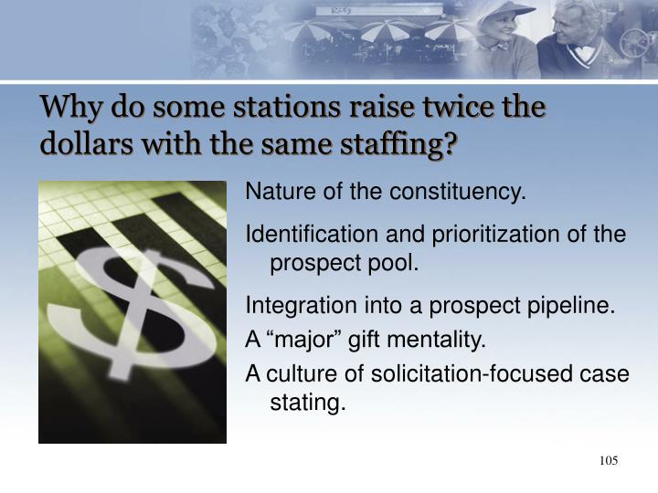 Why do some stations raise twice the dollars with the same staffing?