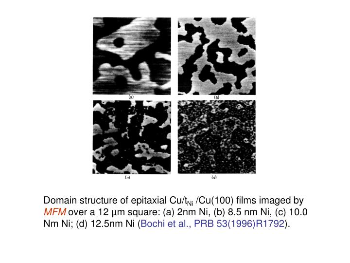 Domain structure of epitaxial Cu/t