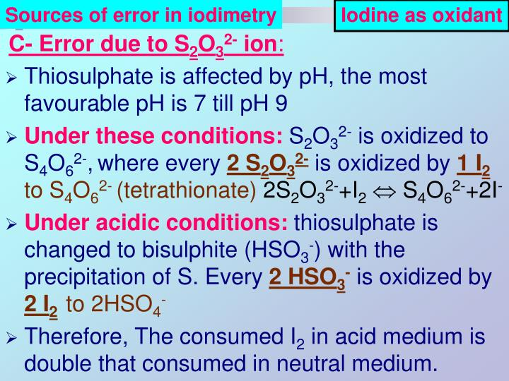 Sources of error in iodimetry