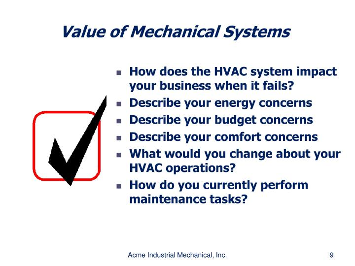 Value of Mechanical Systems