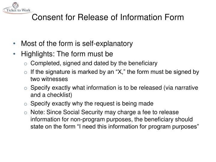 Consent for Release of Information Form