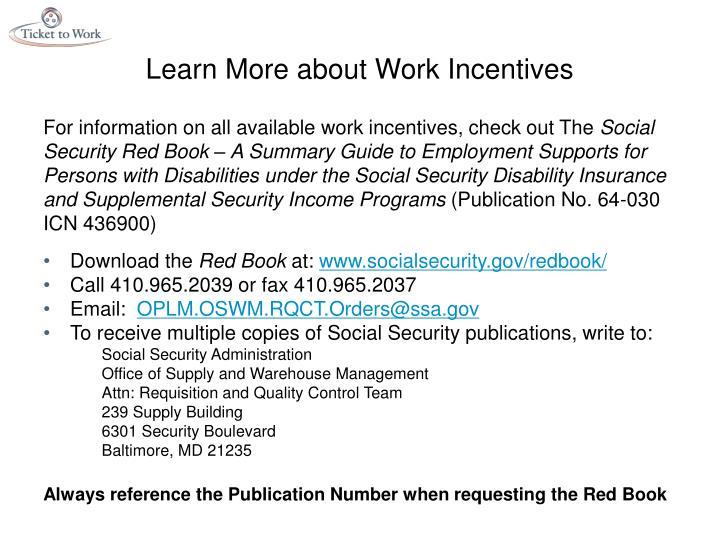 Learn More about Work Incentives