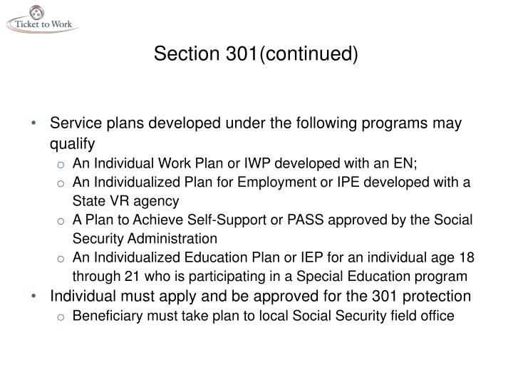 Section 301(continued)