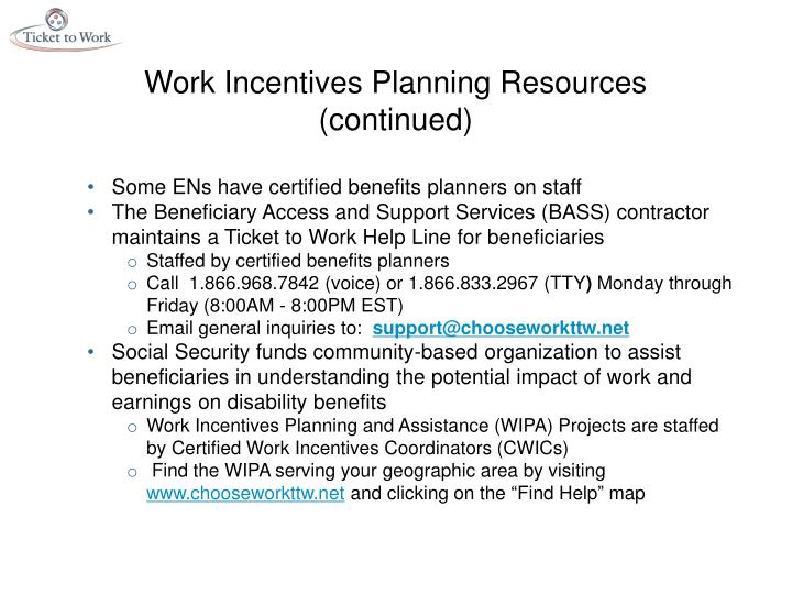 Work Incentives Planning Resources