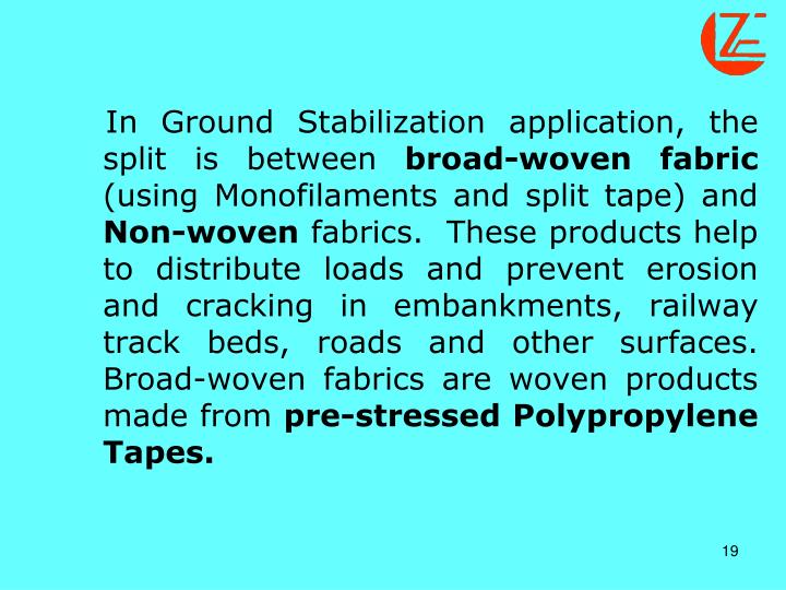 In Ground Stabilization application, the split is between