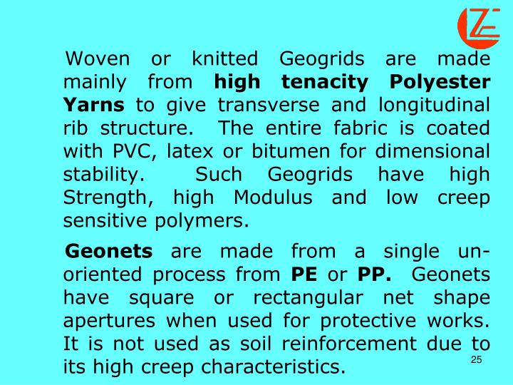 Woven or knitted Geogrids are made mainly from