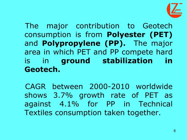 The major contribution to Geotech consumption is from