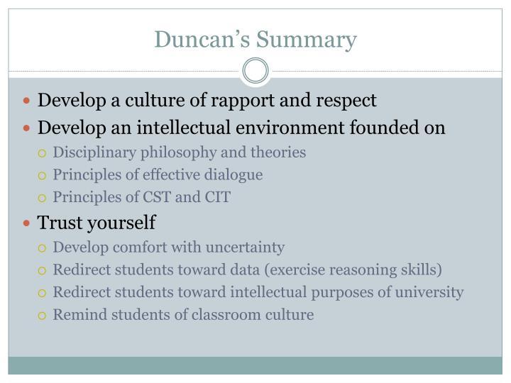 Duncan's Summary